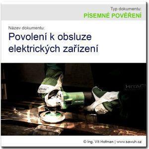 Písemné povolení k obsluze elektrických zařízení