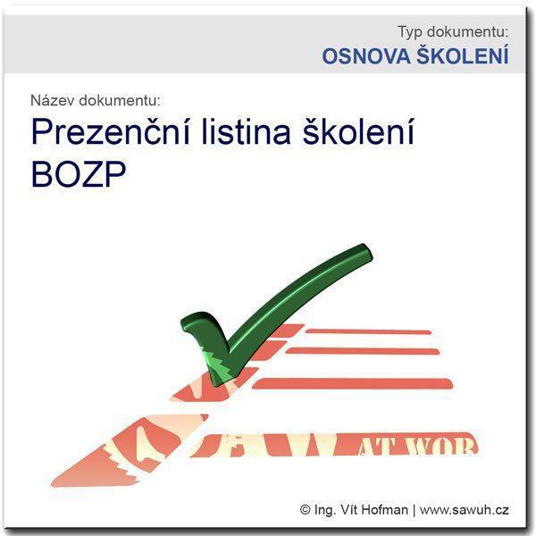 Prezenční listina školení BOZP