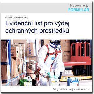 Evidenční list pro výdej OOPP